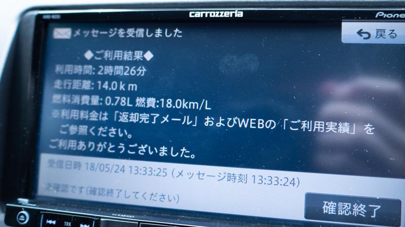 オリックスカーシェア返却時に表示される画面