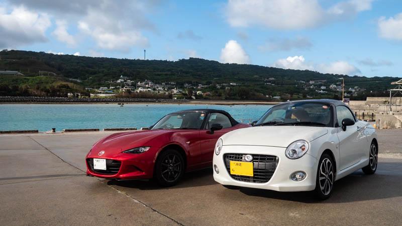 奥武島(沖縄)にてMAZDAロードスターとダイハツコペン