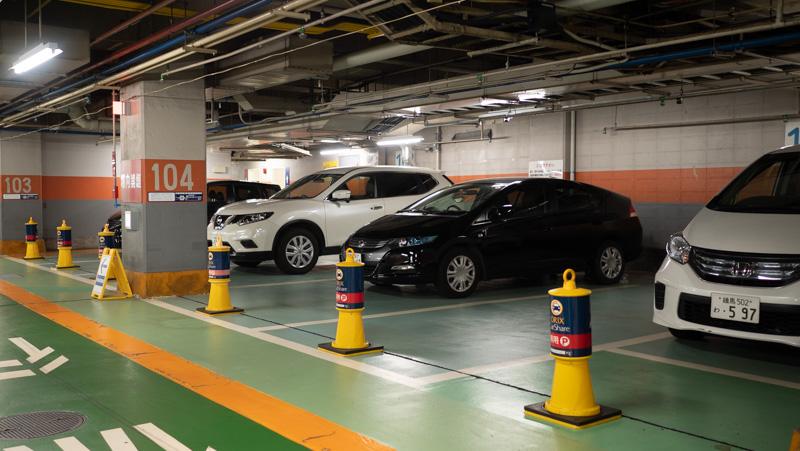 新宿サブナード駐車場内のオリックスカーシェアのステーション