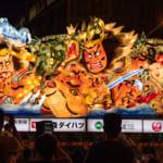 青森山田学園の2018年青森ねぶた「竜飛の黒神 男鹿の赤神」(作:北村 隆)