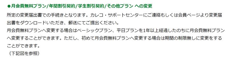 カレコ公式サイトでの月会費無料プランへの変更に関する記述